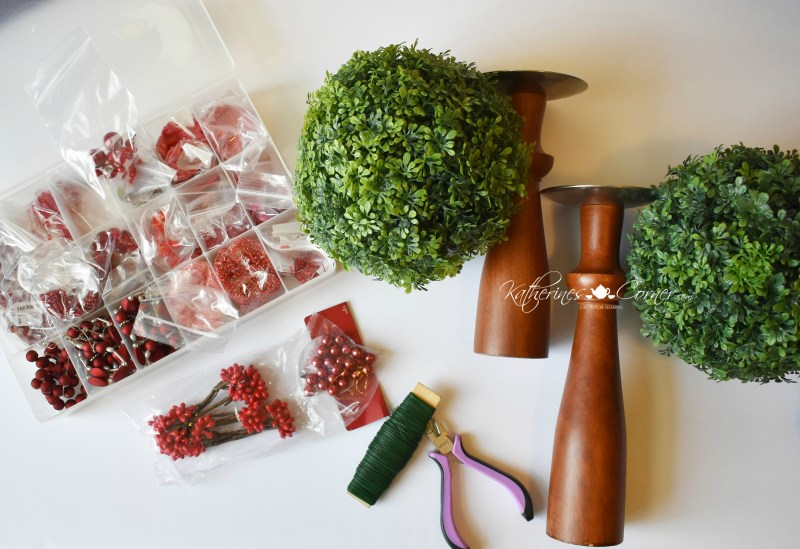 diy christmas holly berry topiary supplies
