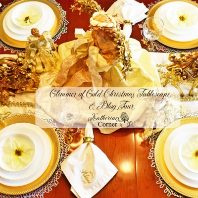 glimmer of gold christmas tablescape and blog hop
