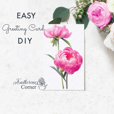pink peonies diy greeting card