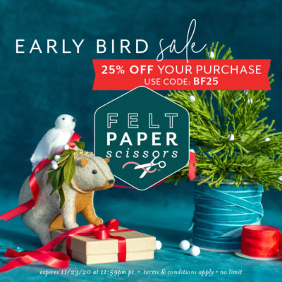 25% off at felt paper scissors