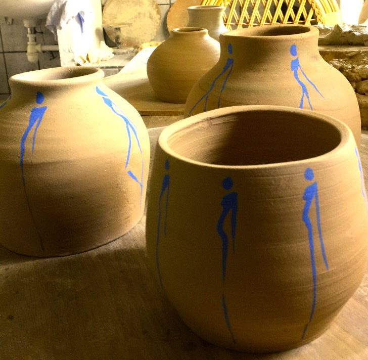 Blue Silhouettes on bowls