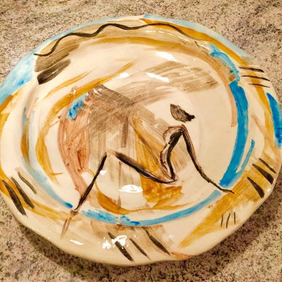 Hand painted silhouette on white clay plate