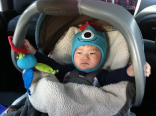 He ALWAYS holds on either to the sides of his car seat or his toy octopus when riding in the car. I swear we don't drive recklessly! So cute!