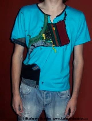 T-shirt Abstracción: Algodón , mixtura de telas, denim, manto, parte de pecho, acriléx