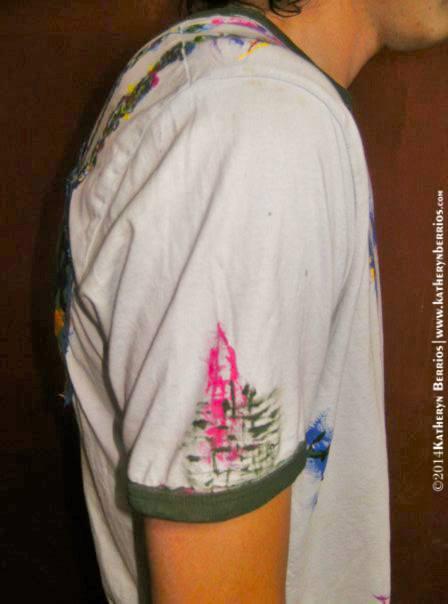 T-shirt Hilandero: Algodón, acriléx en tela, bordes en color, pintado a mano.