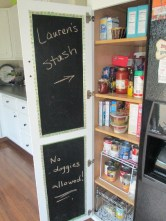 Chalkboard inside pantry door as a bonus!