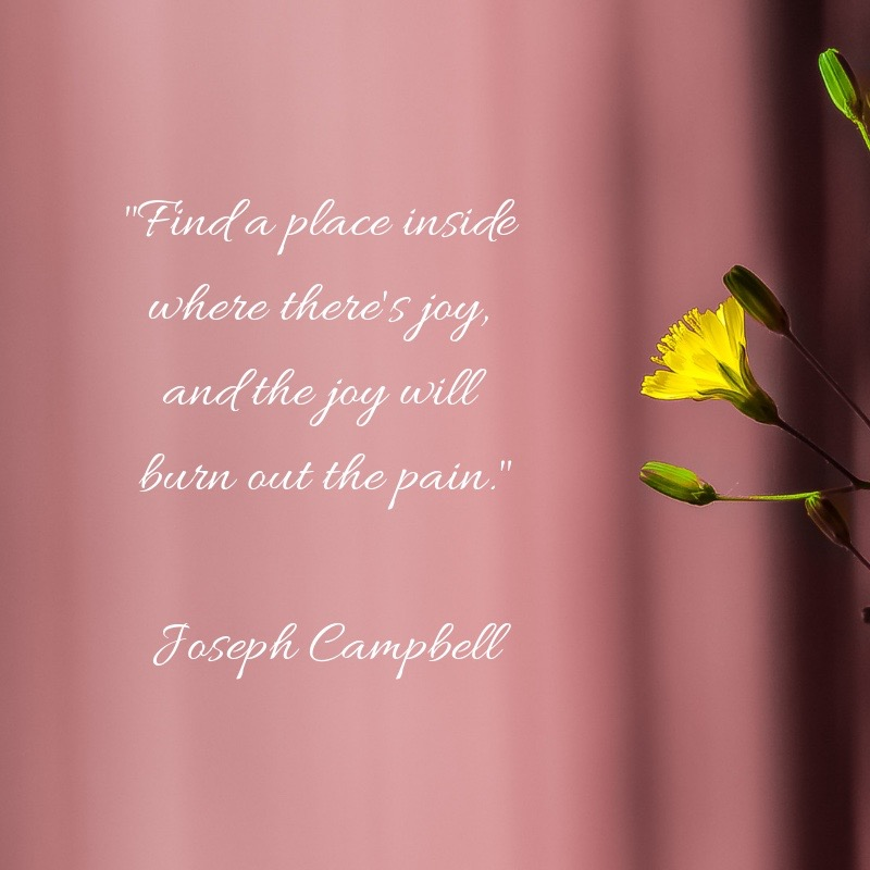 Find a place inside where there's joy, and the joy will burn out the pain. Joseph Campbell
