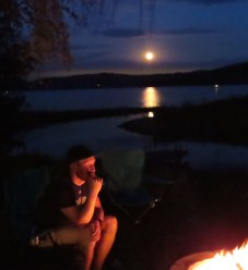 Warm Summer Night Complete With Campfire, Full Moon and The Family - Ahh