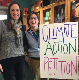 Gathering signatures at the Northshire Bookstore to place the climate-action and renewable energy resolution on the agenda for the 2018 town meeting in Manchester.