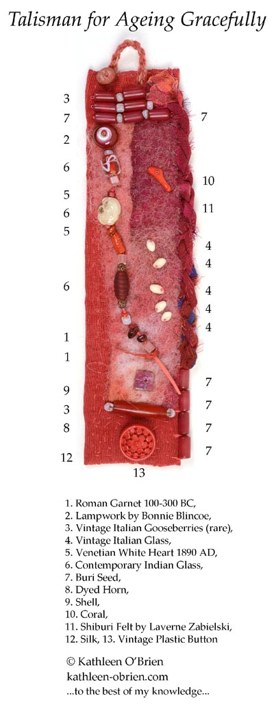 """Talisman for Ageing"" ID of beads, by Kathleen O'Brien"