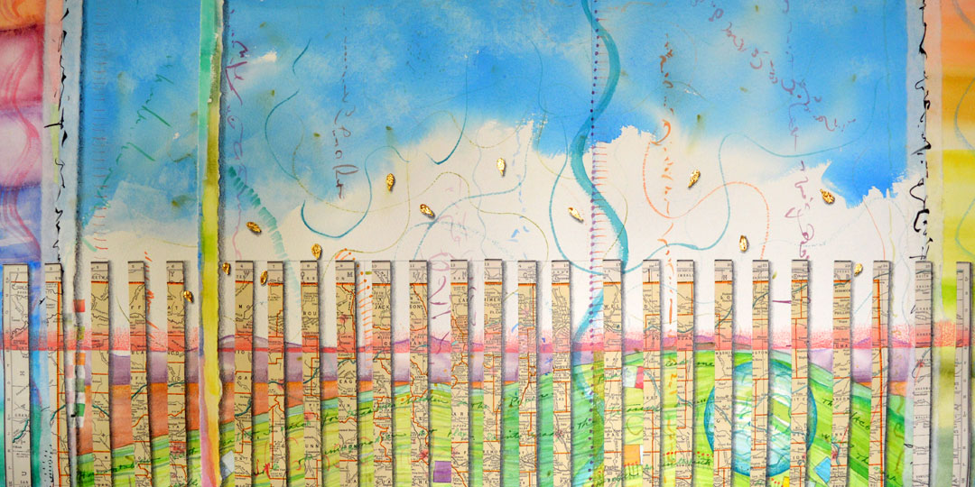 40th Parallel, detail of watercolor, drawing, collage by Kathleen O'Brien
