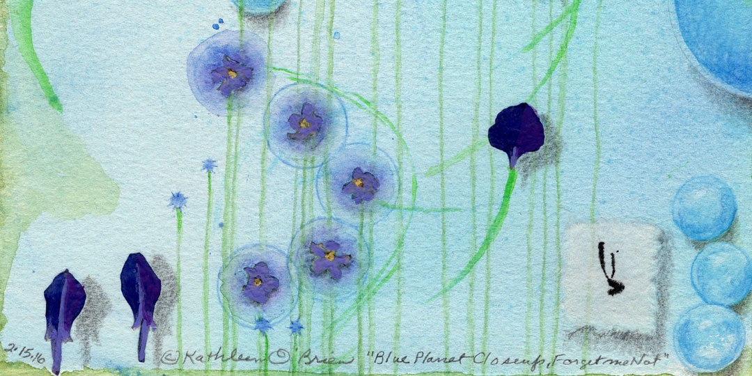 Blue Planet Closeup, Forget Me Not,, detail of watercolor, drawing, collage by Kathleen O'Brien