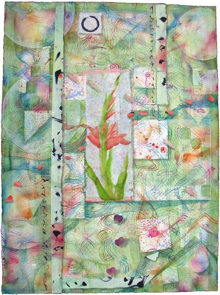 "Kathleen O'Brien, ""Gladiola Garden"", collage"