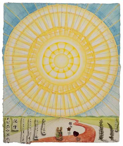 "Kathleen O'Brien, ""Here Comes the Sun"", collaged drawing"