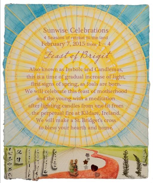 flier for Feast of Brigit, Sunwise Celebrations