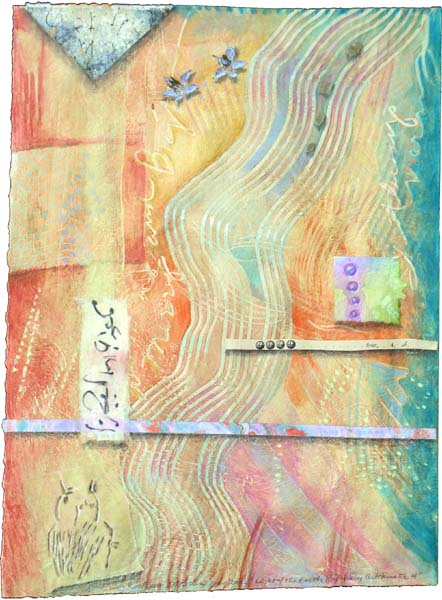 """Kathleen O'Brien, """"Light of the Earth 4"""", collaged drawing on paste paper"""