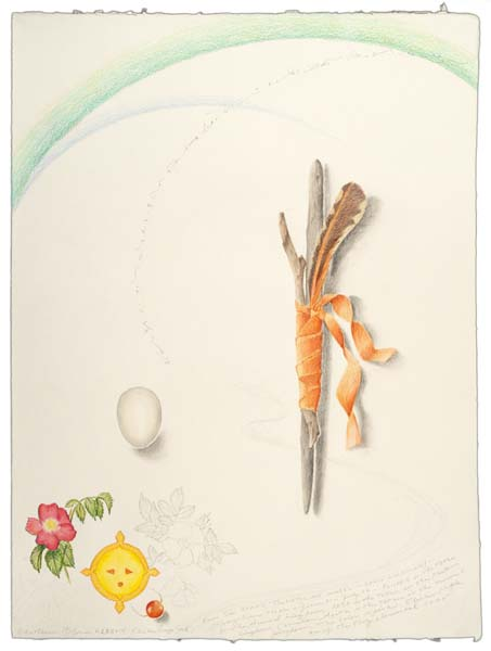 "Kathleen O'Brien, ""Flicker Prayer Stick"", drawing"