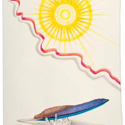 "Kathleen O'Brien, ""Sun Worship"", drawing on Twinrocker paper, framed"
