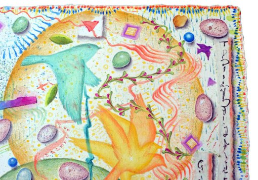 """Egg Hunt, Ostara"", detail 2, watercolor, drawing, collage by Kathleen O'Brien"