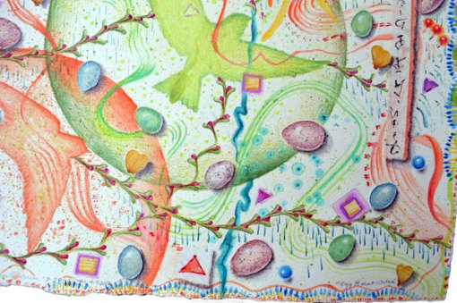 """""""Egg Hunt, Ostara"""", detail 4, watercolor, drawing, collage by Kathleen O'Brien"""