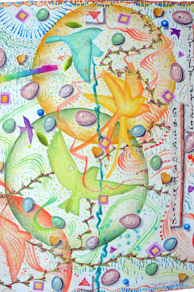 """Egg Hunt, Ostara"", detail 5, watercolor, drawing, collage by Kathleen O'Brien"