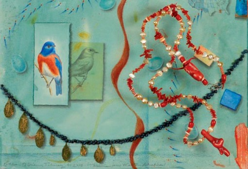 """Talisman for Western Bluebirds"", detail, MM Collage, 20x20"" & ""Talisman for Oceans"", beads, 37"", by Kathleen O'Brien"