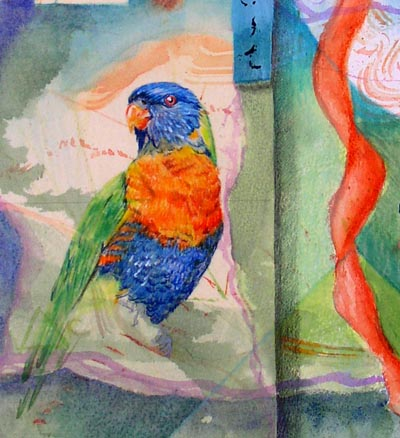 """Song for rainbow Parrot"" collaged drawing, detail Kathleen O'Brien"