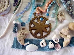 """Talisman for Beachcombers"", process 2, beaded wall hanging by Kathleen O'Brien"