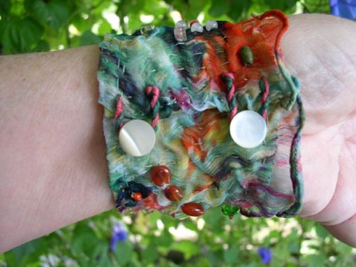 """Talisman for Honey Bees"" bracelet cuff back Kathleen O'Brien"