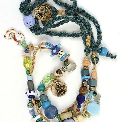 """Talisman for Critters of Sky & Land"" bead necklace by Kathleen O'Brien"