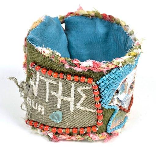 """Talisman for Sparrows"" bead bracelet cuff Kathleen O'Brien"