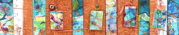 "detail of ""Talisman for Artists"", collaged artifact with handmade beads by Kathleen O'Brien"