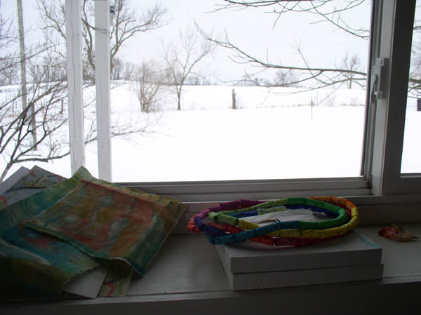 View from the north window with paper beads that haven't found their purpose yet.