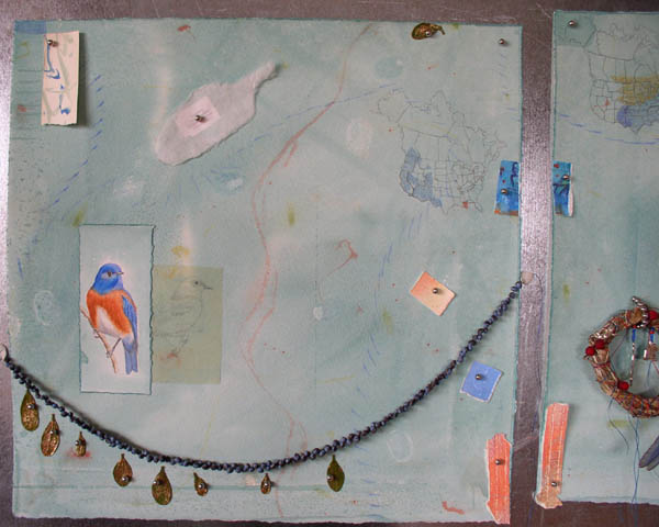 "Kathleen O'Brien, ""Talisman for Western Bluebirds"", process, showing other collage pieces in position"