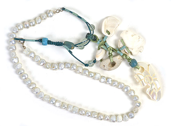 """Talisman for Beaches"", bead necklace, 38"",  by Kathleen O'Brien"