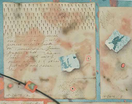 """""""Talisman for going On"""", detail , watercolor, drawing, collage, objects by Kathleen O'Brien, 28 x 36"""""""