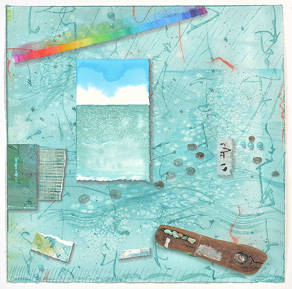 """Talisman for Water"", MM Collage by Kathleen O'Brien, 20 x 20"""