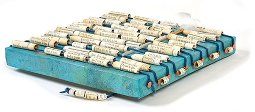 """Talisman for Writers"" detail, collaged artifact with hand made beads by Kathleen O'Brien"