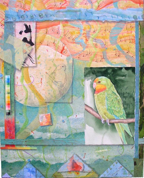 """Song for Superb Parrot"", Kathleen O'Brien, Mixed Media collage on Arches on Panel, 20x16x2"", St. Joseph East Hospital Collection"