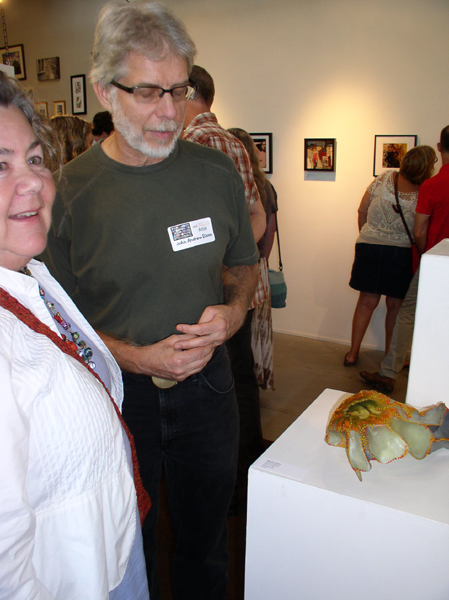 "KO'B & John A. Dixon with, Michelle Hayden's ""Quiet Emergence"" at ""notBIG(3)""exhibit, photo Greg Orth"
