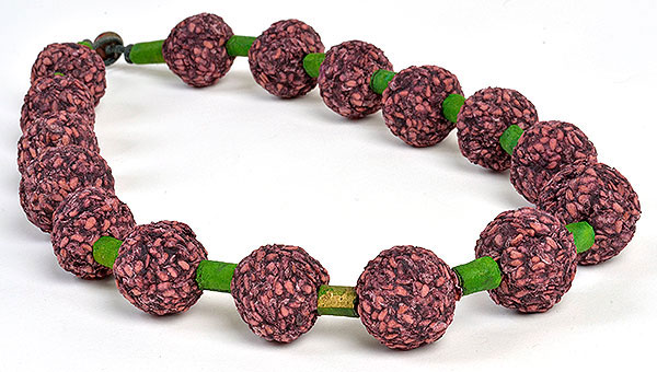 Elderberry Bead Necklace with paper beads, Kathleen O'Brien