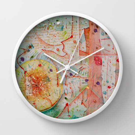 Always Merry and Bright Clock by Kathleen O'Brien Studio from society6