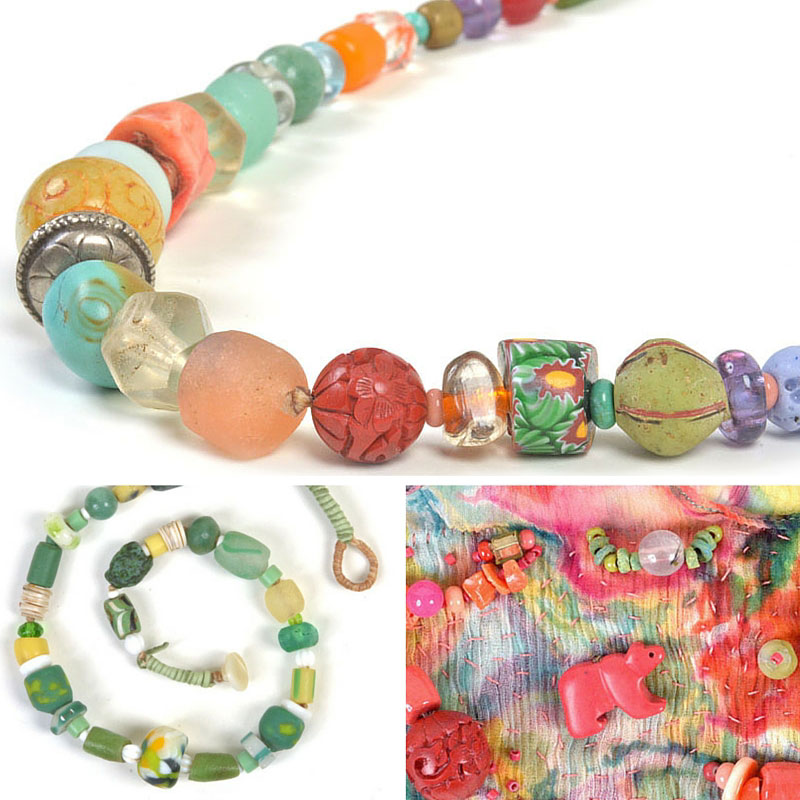A sample of newest jewelry by Kathleen O'Brien using ancient, antique, vintage and handmade beads premiering at the Annual Open Studios ARTTOUR. These are one of a kind treasures.
