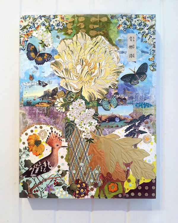 Meg Higgins ~ Japanese Peony Goes to Italy ~ collage on wood panel