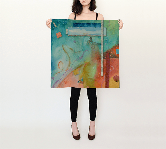 Outer World silk scarf by Kathleen O'Brien