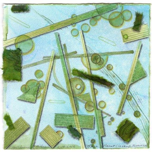 "Blue Planet Closeup, Diatoms, collage by Kathleen O'Brien, 7.5x7.5"""