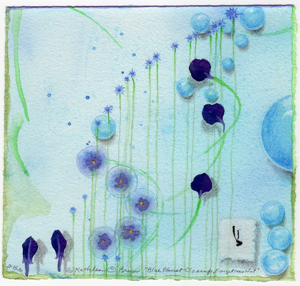 """Blue Planet Closeup, Forget Me Not, collage by Kathleen O'Brien, 7.5x7.5"""""""