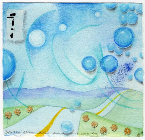 Blue Planet Closeup, Long Path, collage by Kathleen O'Brien, 7.5x7.5""