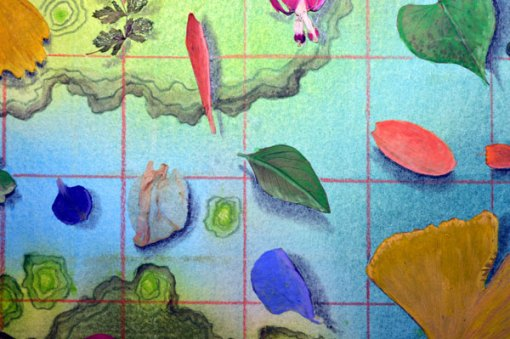 50 Botanicals, collage by Kathleen O'Brien, detail 2, 14×17″