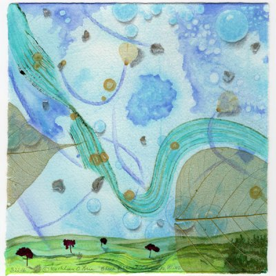 Blue Planet Closeup, Wind, collage by Kathleen O'Brien, 7.5x7.5""